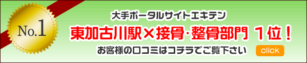 エキテンにて東加古川駅、接骨・整骨部門1位獲得